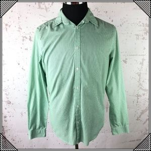 * H&M Slim Fit Green Striped Button Up Shirt *